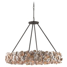 Currey and Company Oyster Textured Bronze / Natural Pendant Light