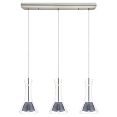 Eglo Musero Matte Nickel LED Multi-Light Pendant with Conical Shade
