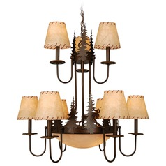 Yellowstone Burnished Bronze Chandeliers with Center Bowl by Vaxcel Lighting
