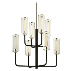 Troy Lighting Aeon Carbide Black with Polished Nickel Chandelier