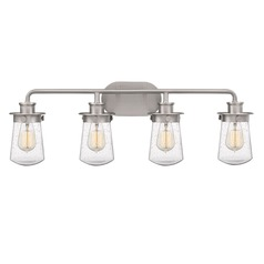 Brushed Nickel 4-Light Bathroom Light with Clear Seeded Shade