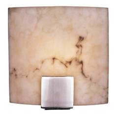 Modern Sconce Wall Light with Alabaster Glass in Brushed Nickel Finish