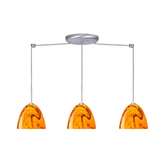 Modern Multi-Light Pendant Light with Orange Glass and 3-Lights