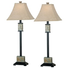 Table Lamp Set with Beige / Cream Shade in Natural Slate Finish