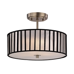 Design Classics Modern Semi-Flush Ceiling Light with Drum Shade -14-Inches Wide DCL 6543-09 SH9468