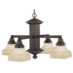 Design Classics Lighting Craftsman Bronze Chandelier with Four Lights 375-78 / G9415C