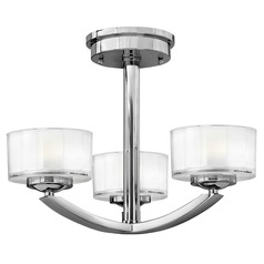 Semi-Flushmount Light with White Glass in Chrome Finish
