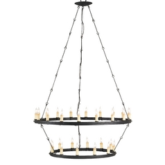 Currey And Company 2-Tier 30-Light Chandelier in Black Smith