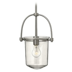 Hinkley Lighting Clancy Brushed Nickel Pendant Light with Cylindrical Shade