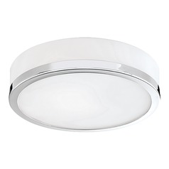 Kuzco Lighting Modern Chrome Flushmount Light with White Opal Shade