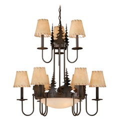Bozeman Burnished Bronze Chandeliers with Center Bowl by Vaxcel Lighting