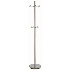 Satin Nickel Coat Rack with Twelve Hooks