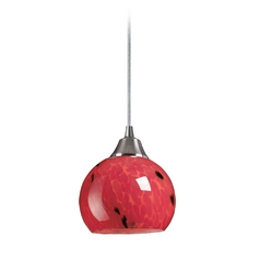 Mini-Pendant Light with Red Glass