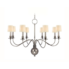 Chandelier with White Paper Shades in Aged Silver Finish