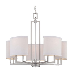 Modern Chandelier with Grey Shades in Brushed Nickel Finish