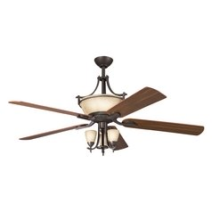 Kichler Modern Fan with Light with White Glass in Olde Bronze Finish