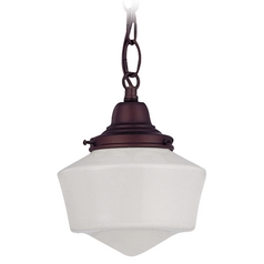 6-Inch Schoolhouse Mini-Pendant Light with Chain in Bronze Finish