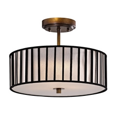Design Classics Lighting Bronze Drum Shade Ceiling Light - 14-Inches Wide DCL 6543-604 SH9468