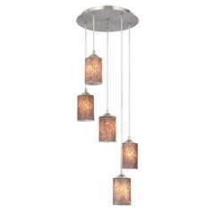 Design Classics Lighting Satin Nickel Multi-Light Pendant with Art Glass and Five Lights 580-09 GL1016C