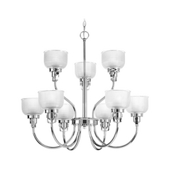 Farmhouse Chandelier Prismatic Glass Chrome Archie by Progress Lighting