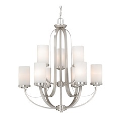 Oxford Brushed Nickel Chandelier by Vaxcel Lighting