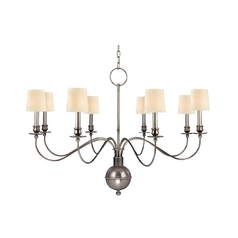 Chandelier with Beige / Cream Shades in Aged Silver Finish