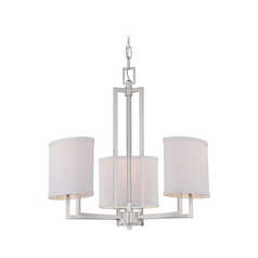 Modern Mini-Chandelier with Grey Shades in Brushed Nickel Finish