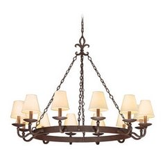 Chandelier with Beige / Cream Shades in Burnt Sienna Finish