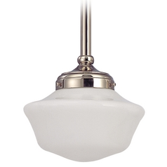 8-Inch Schoolhouse Mini-Pendant Light Polished Nickel