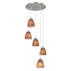 Design Classics Lighting Modern Multi-Light Pendant Light with Bell Art Glass Shades 580-09 GL1016MB
