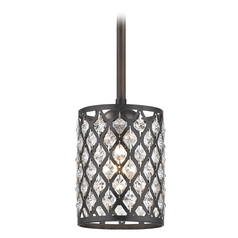 Crystal Bronze & Phoenix Stem Hung Mini-Pendant Light