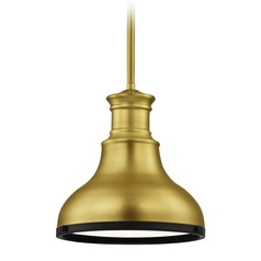 Farmhouse Brass Small Pendant Light with Black Accents 8.63-Inch Wide