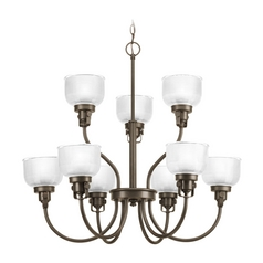 Chandelier with Clear Glass in Venetian Bronze Finish
