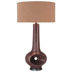 Minka Lavery Black Chocolate Table Lamp with Drum Shade