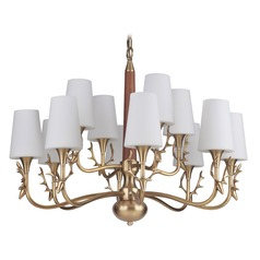 Craftmade Vintage Brass 12-Light Chandelier with White Acid Etched Shades