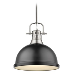 Golden Lighting Duncan Pewter Pendant Light with Matte Black Shade