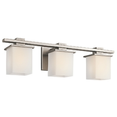 Kichler Bathroom Light with White Glass in Antique Pewter Finish