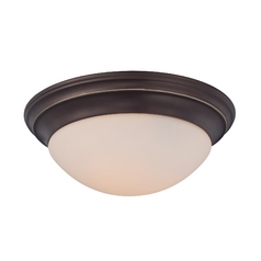 Flushmount Light with White Glass in Palladian Bronze Finish