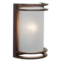 Outdoor Wall Light with White Glass in Bronze Finish