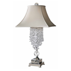 Modern Table Lamp with White Shades in Silver Plated Finish