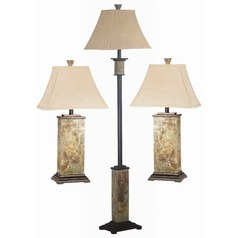 Table and Floor Lamp Set with Beige / Cream Shade in Slate Finish