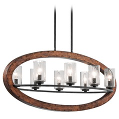Kichler Pendant Light with Clear Glass in Auburn Stained Finish