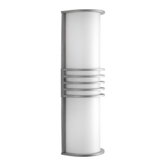 Progress Modern Outdoor Wall Light with White in Satin Aluminum Finish