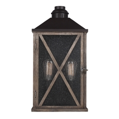 Seeded Glass Outdoor Wall Light Weathered Oak Oil Rubbed Bronze Feiss Lighting