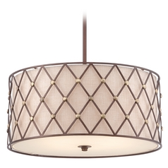 Quoizel Brown Lattice Copper Canyon Pendant Light with Drum Shade