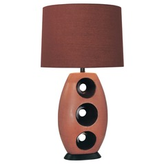 Minka Lavery Orange with chocolate Table Lamp with Drum Shade