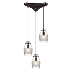 Elk Lighting Carved Glass Oil Rubbed Bronze Multi-Light Pendant with Bowl / Dome Shade