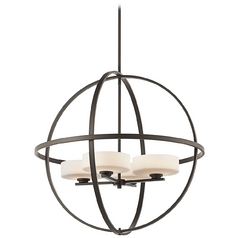 Kichler Modern Pendant Light with White Glass in Olde Bronze Finish