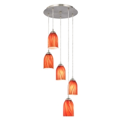 Design Classics Lighting Multi-Light Pendant Light with Red Art Glass Dome Shades 580-09 GL1017D