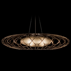Fine Art Lamps Entourage Rich Bourbon with Golden Mist Highlights Pendant Light with Oblong Shade